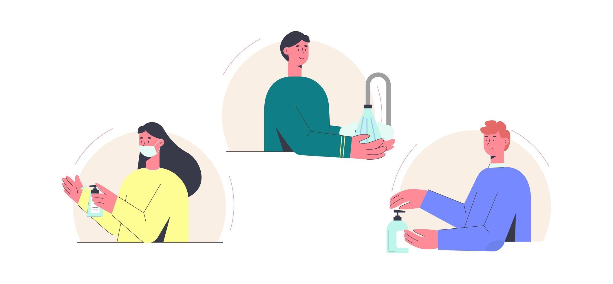 coronavirus desinfectie mensen instellen vector