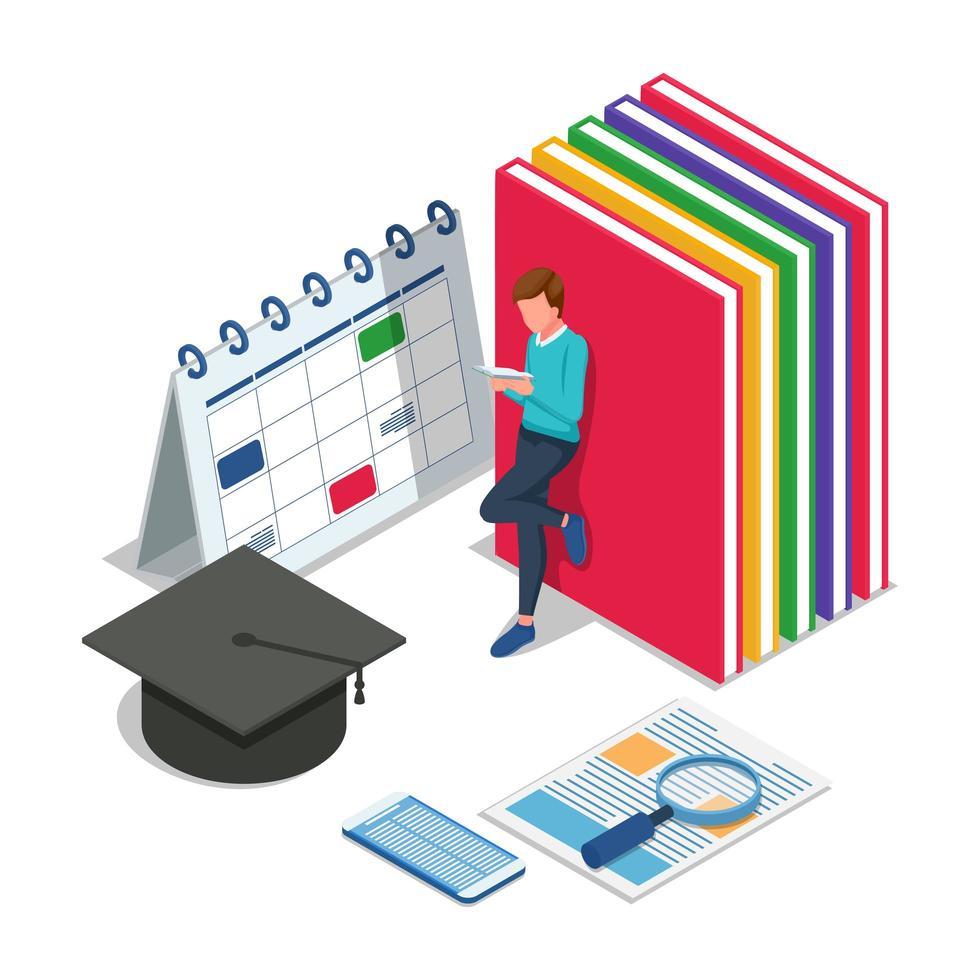 man met kalender, boeken, afstuderen cap vector