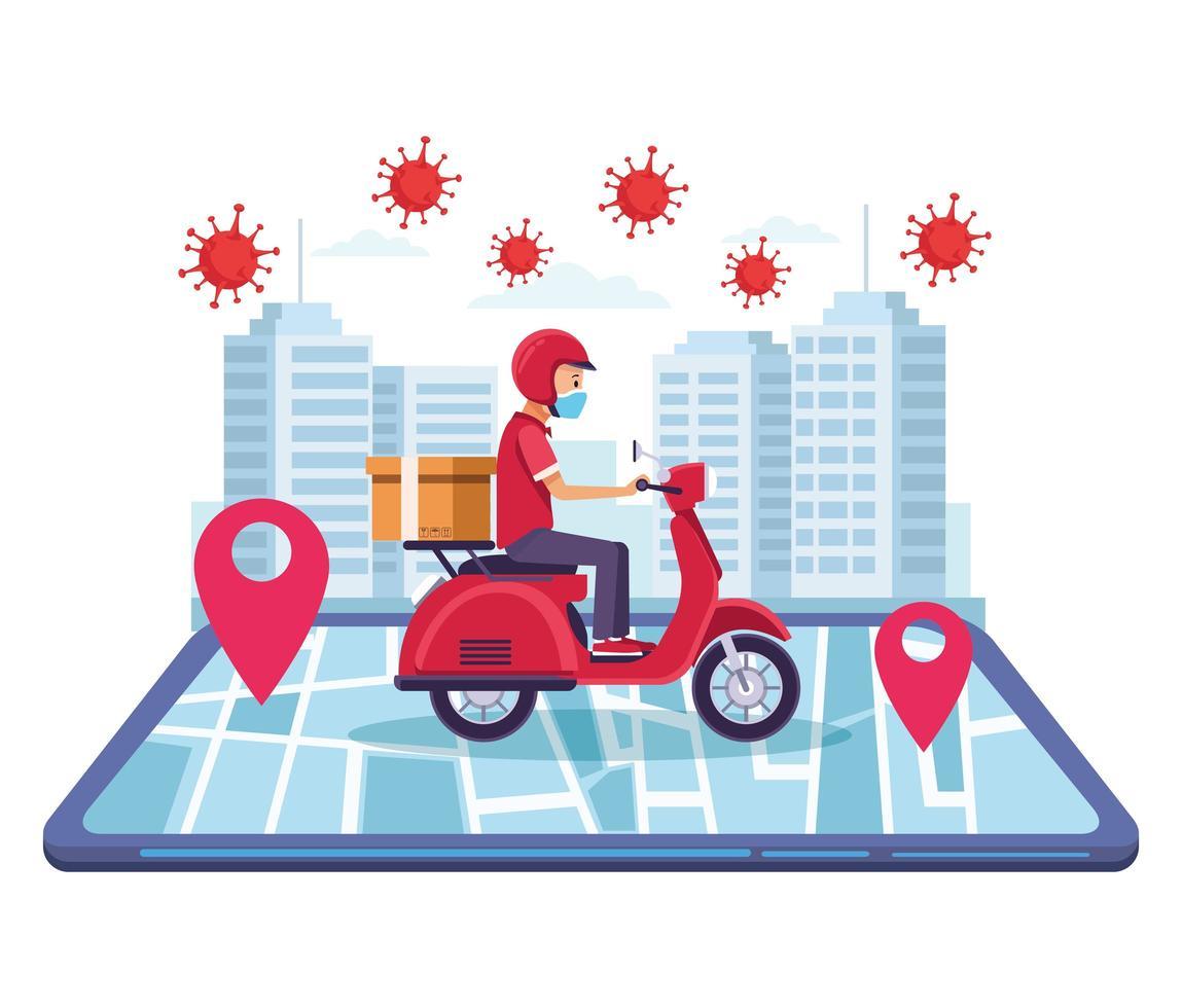 motorfiets bezorgservice online vector