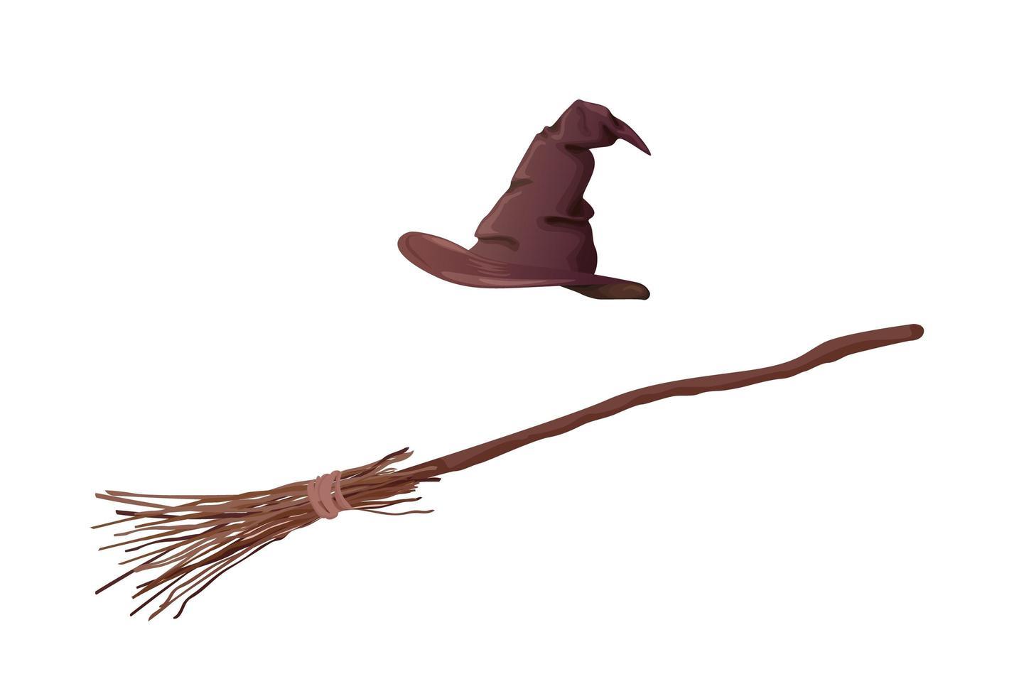 cartoon bruine heks hoed en bezem vector