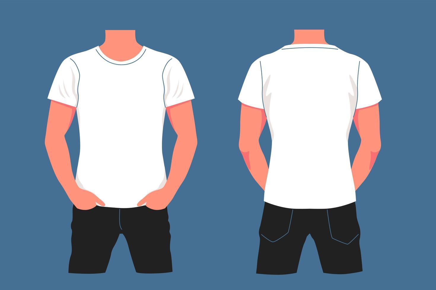 cartoon wit t-shirt mockup op mannelijk lichaam vector