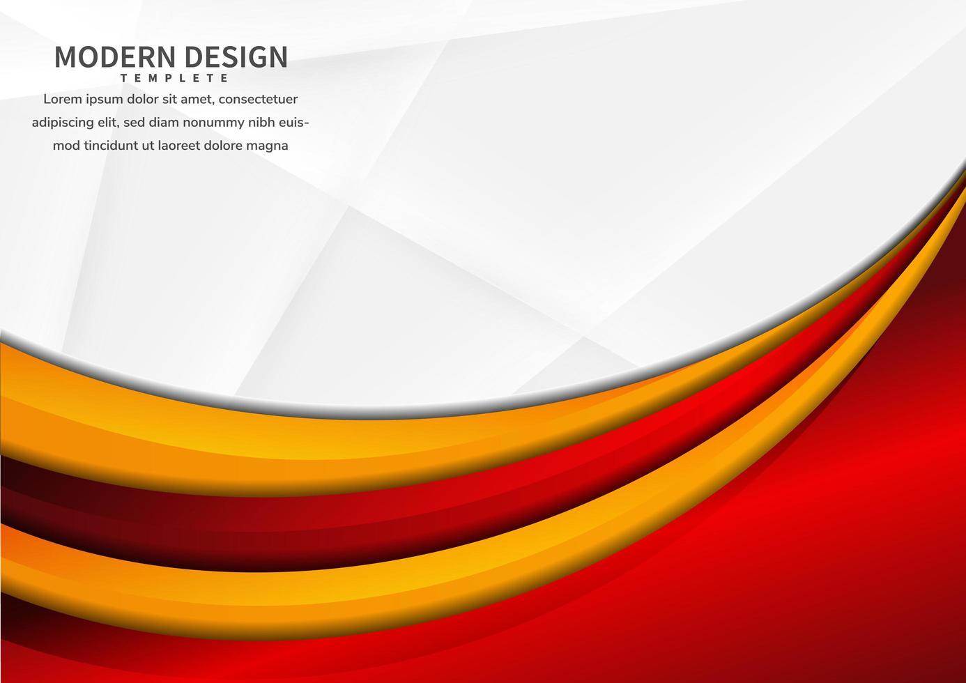 abstracte rode en gele levendige gebogen lagen die op wit overlappen vector