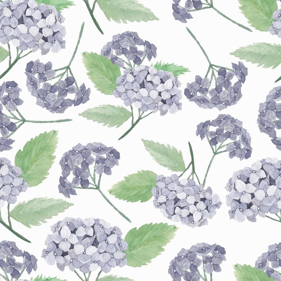 aquarel paarse hortensia bloemenpatroon vector