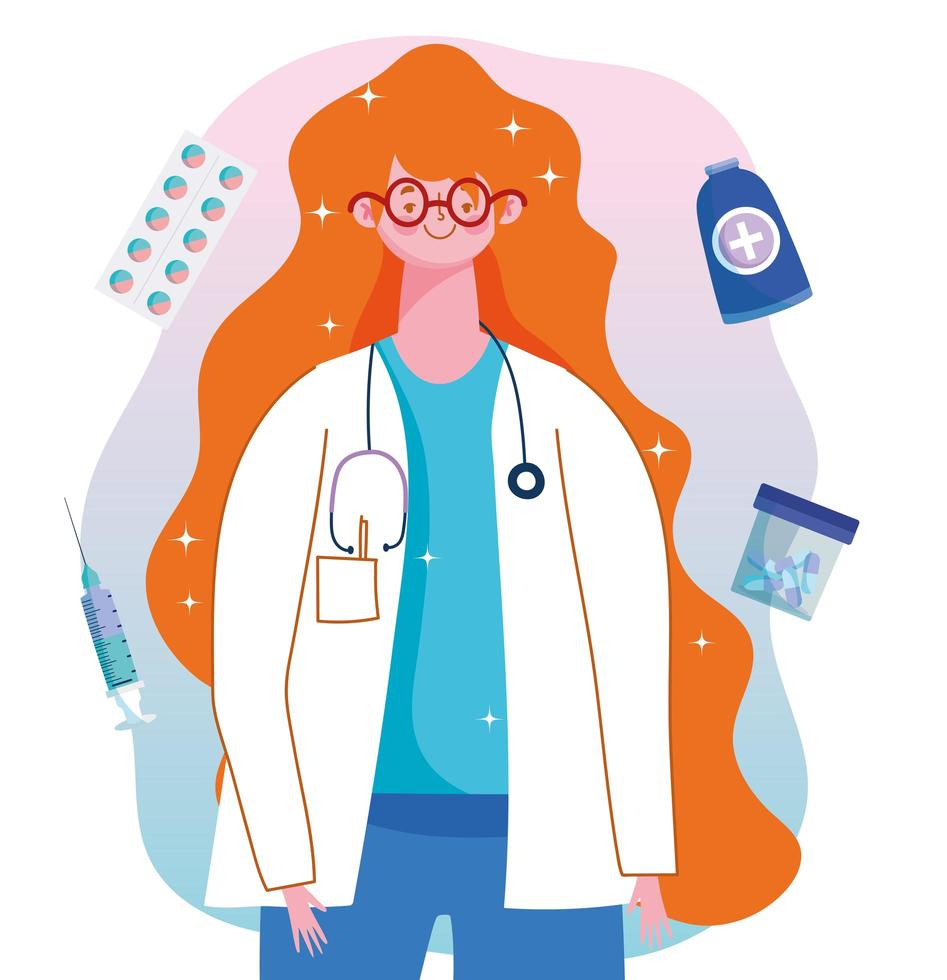 vrouwelijke arts professionele medicatie medische zorg vaccinatie vector