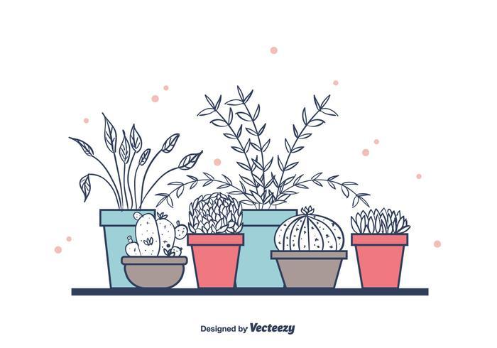 Huisplanten In Potten vector