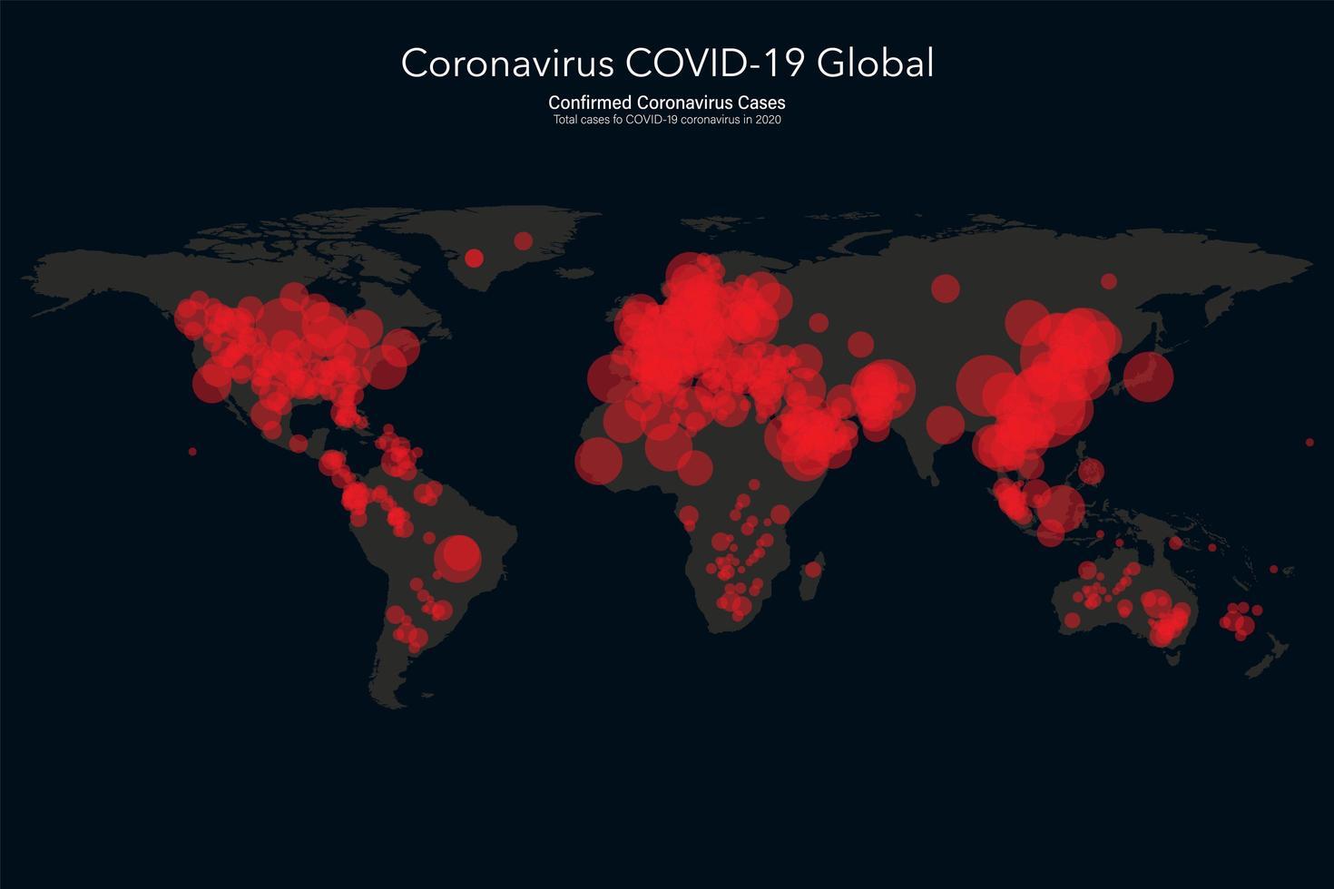 wereldkaart met coronavirus covid-19 bevestigde gevallen vector