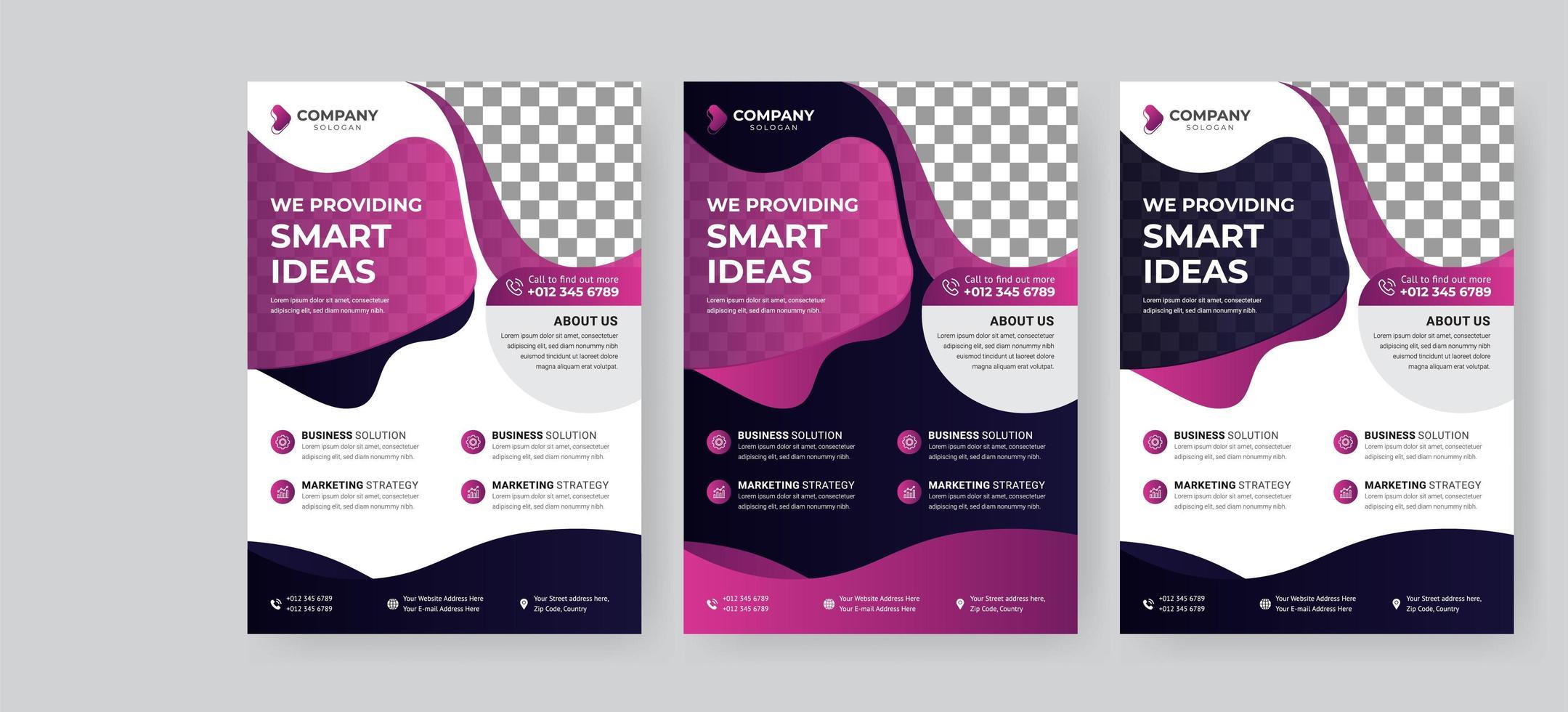 zakelijke paarse vloeibare flyer ontwerpen vector