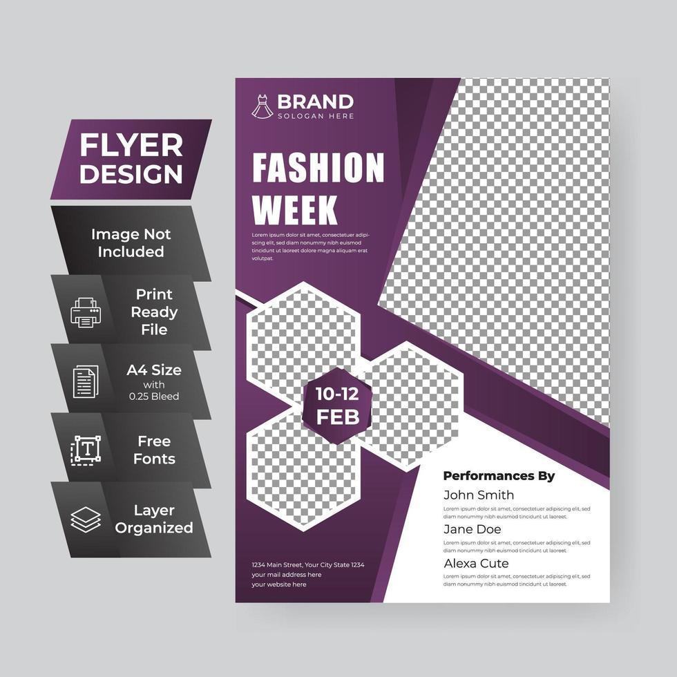 paarse flyer-sjabloon voor online modeverkoop vector