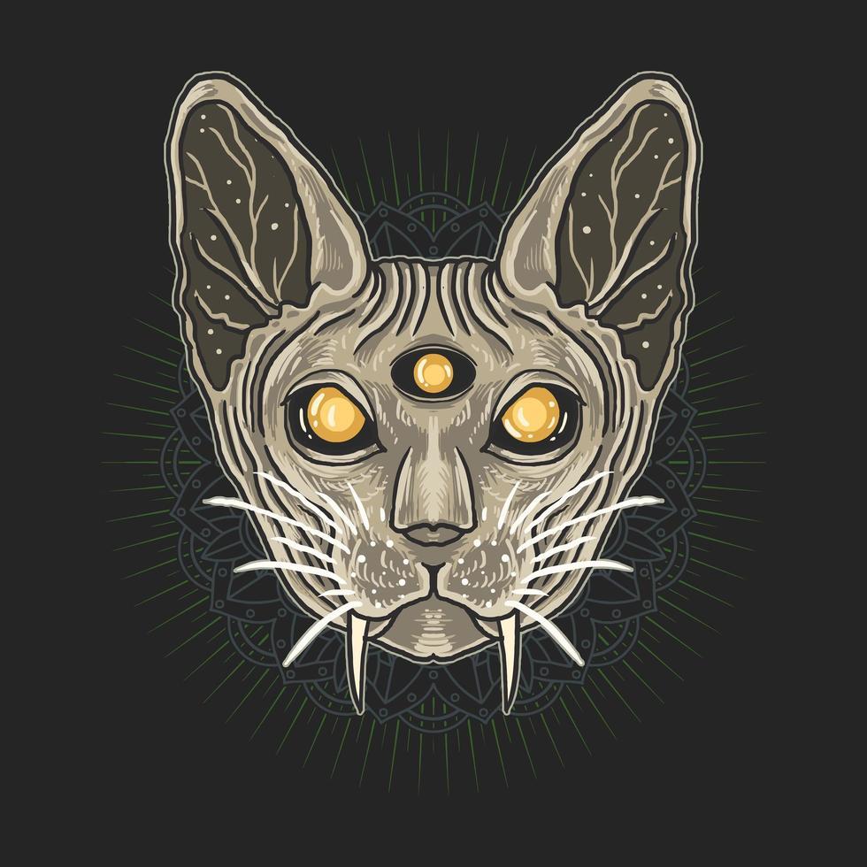 sphynx kat hoofd over mandala patroon vector