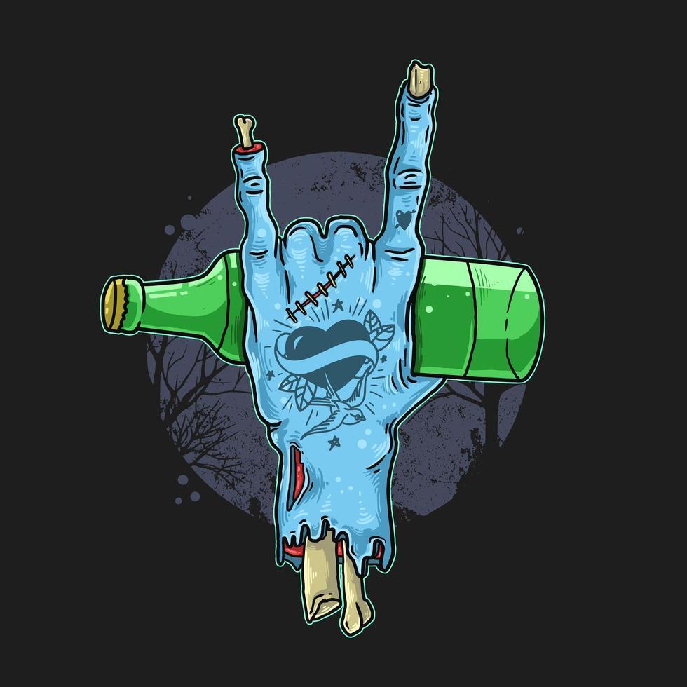 getatoeëerde zombie hand met fles vector