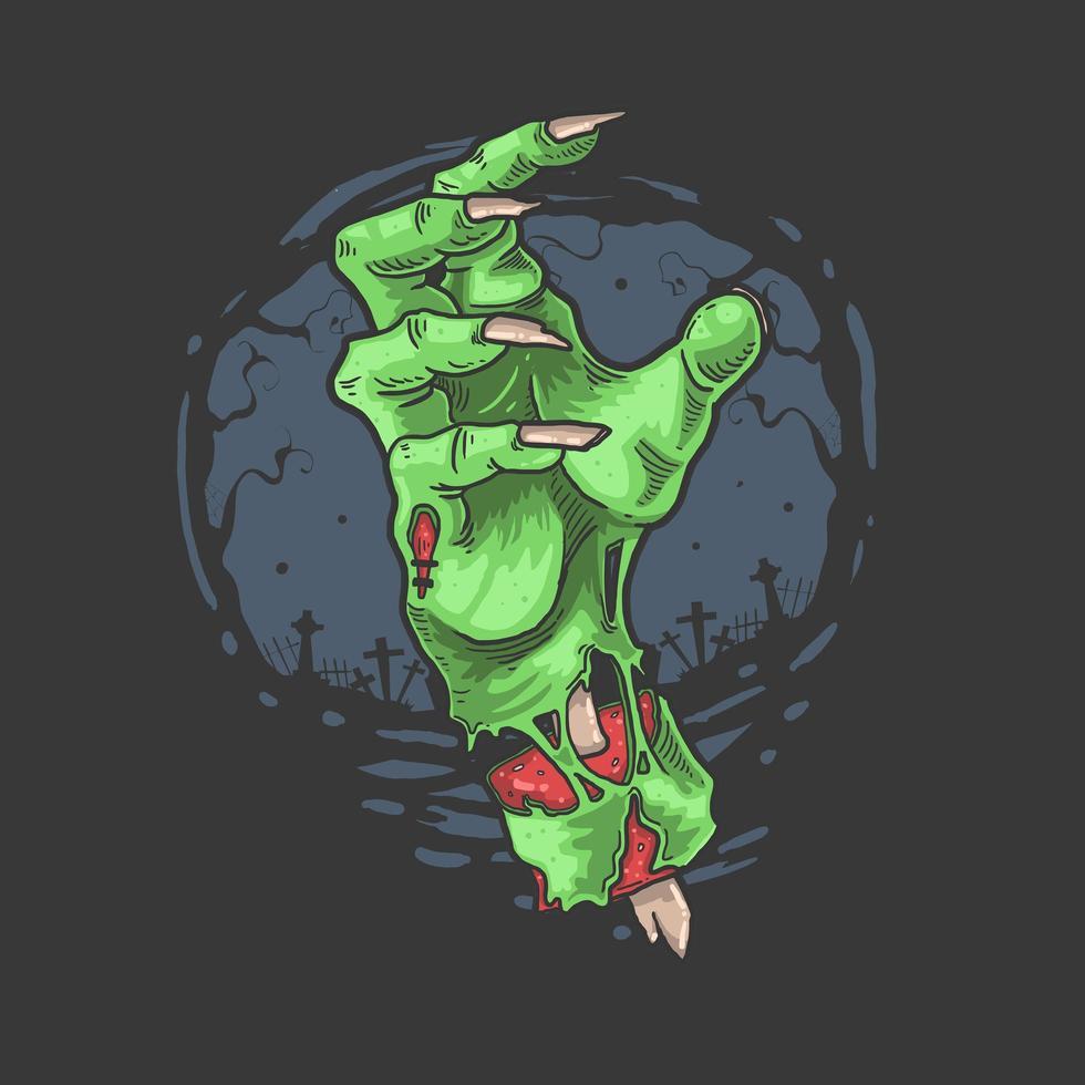 zombie horror hand vector
