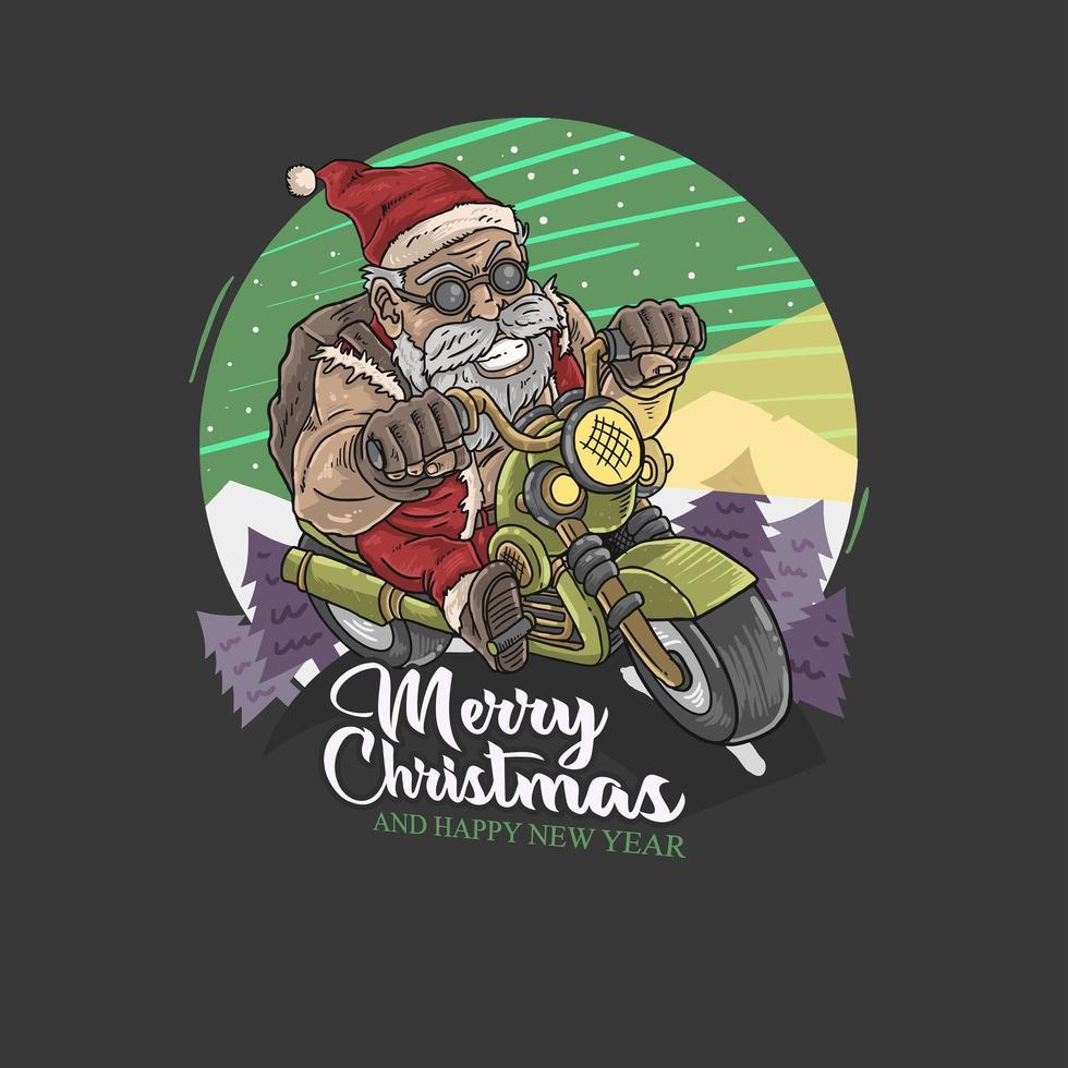 Kerstman met motorfiets vector