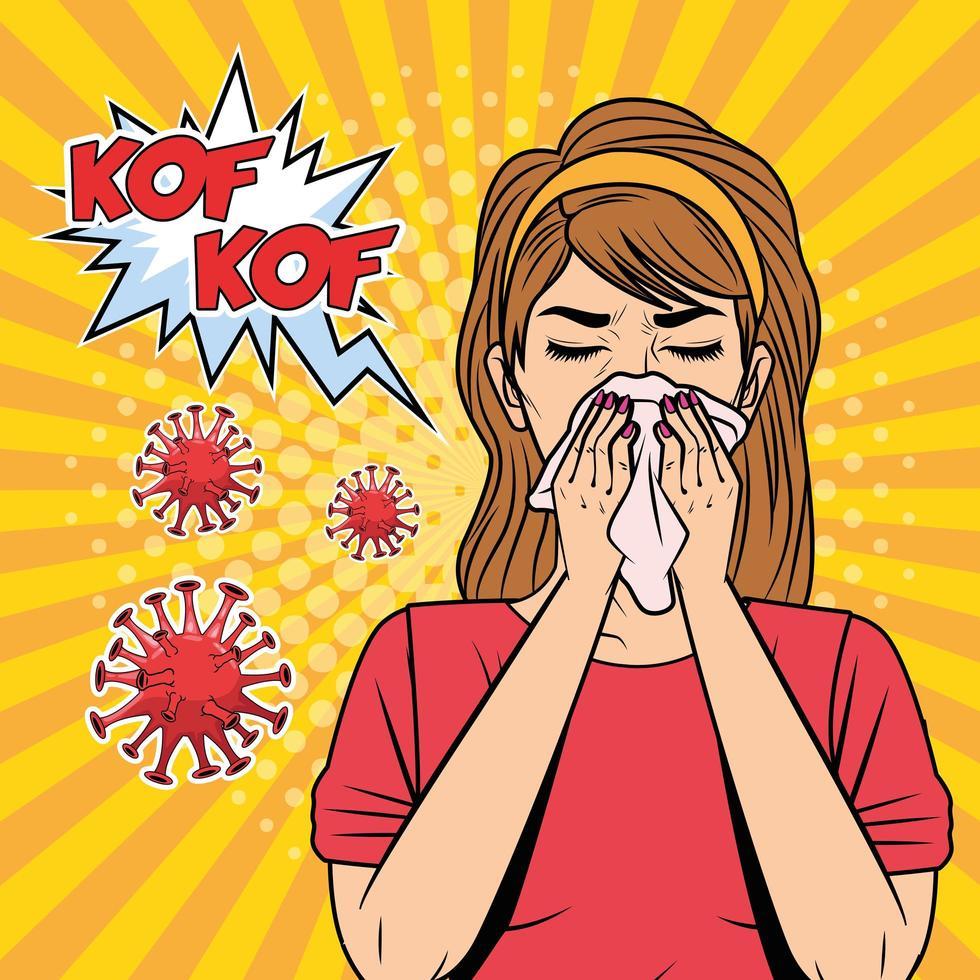 vrouw ziek met griep of covid-19 vector