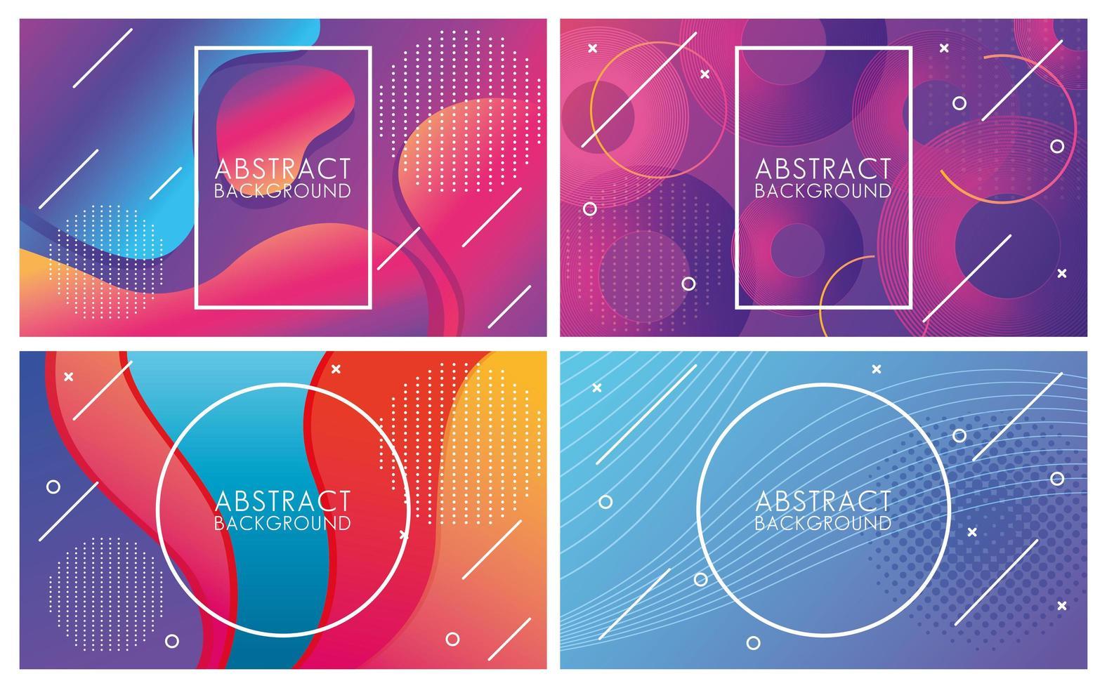 heldere kleuren en vloeistoffen set van abstracte achtergronden vector