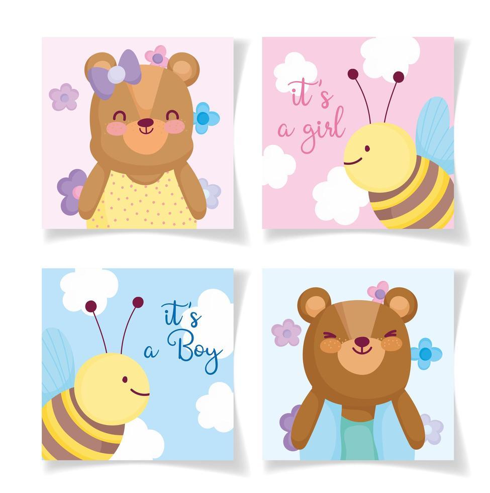 kleine baby dieren uitnodigingskaartsjablonen vector