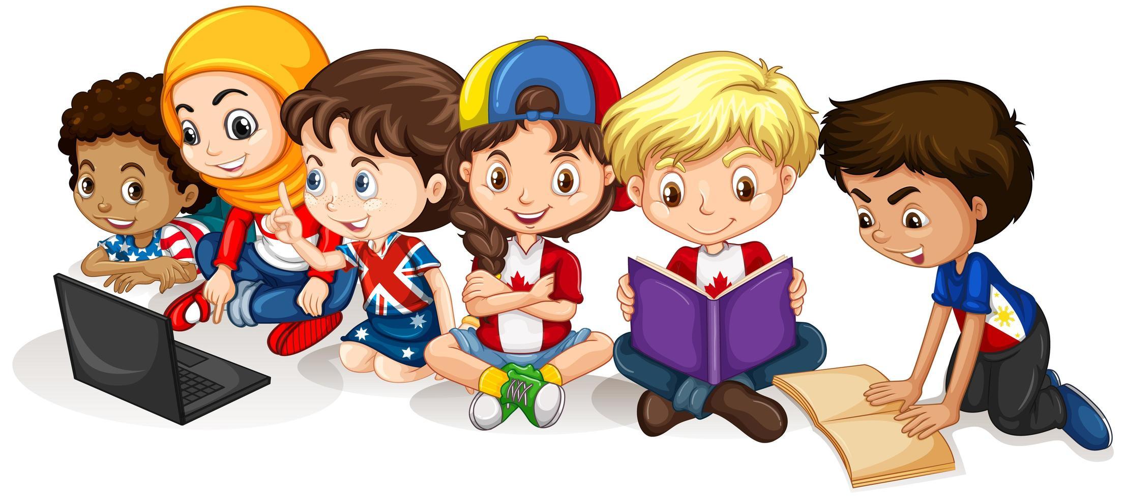 gelukkige kinderen lezen en werken op de computer vector