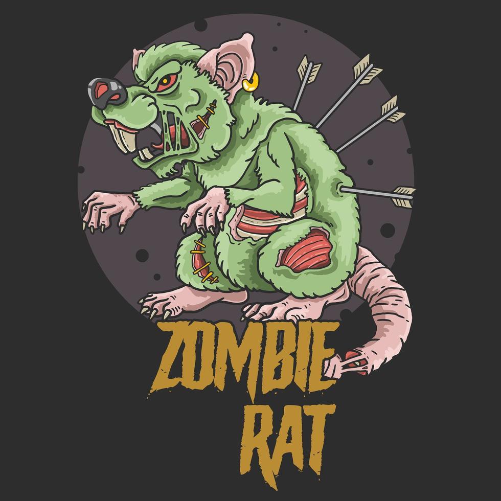zombie rat aanval vector