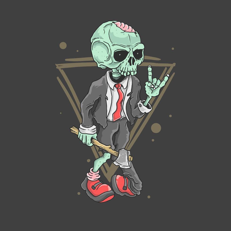 schattige zombie-rocker vector