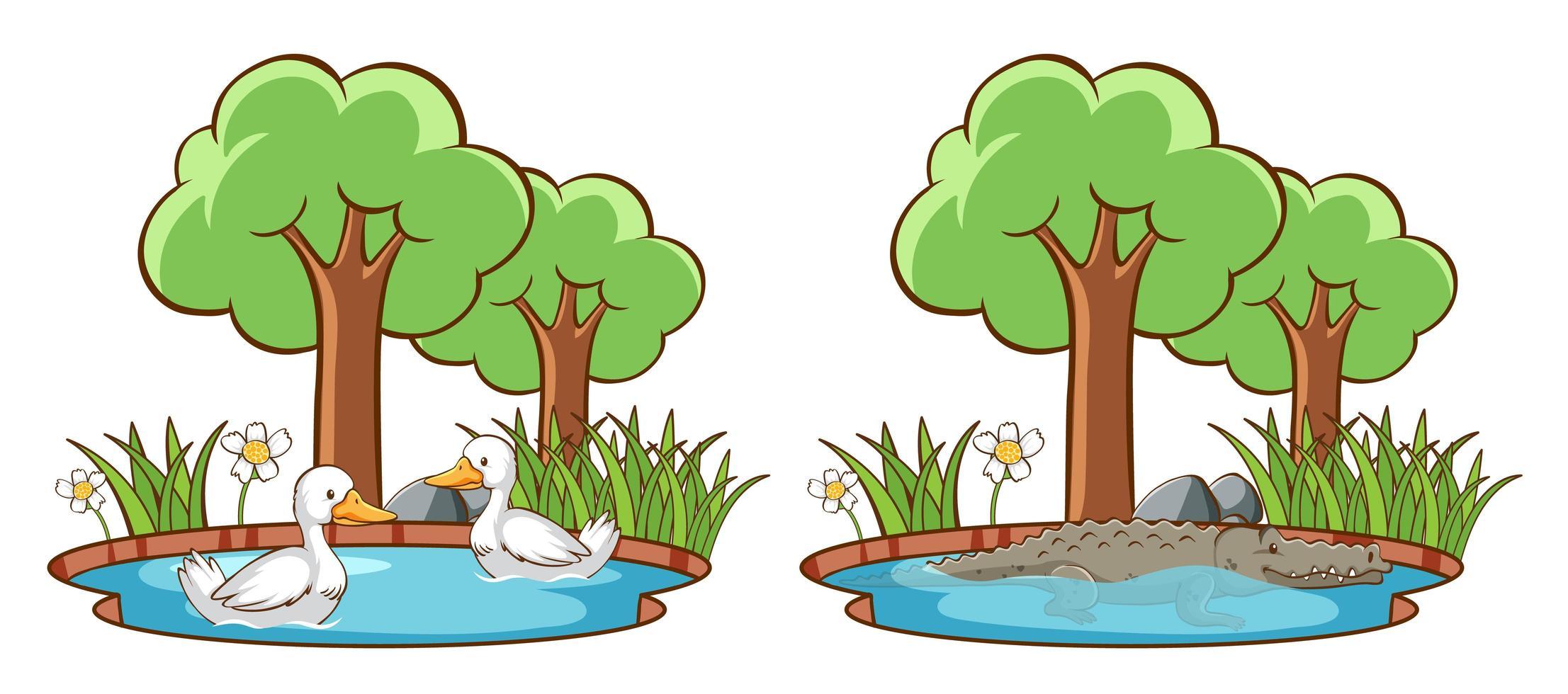 wilde dieren in het park met bomen vector