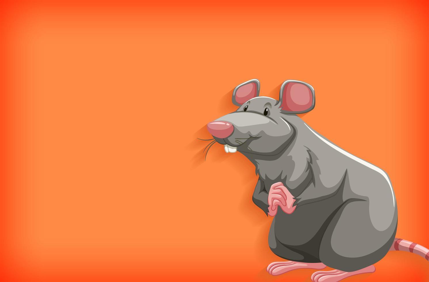 grijze muis geïsoleerd op oranje verloop vector