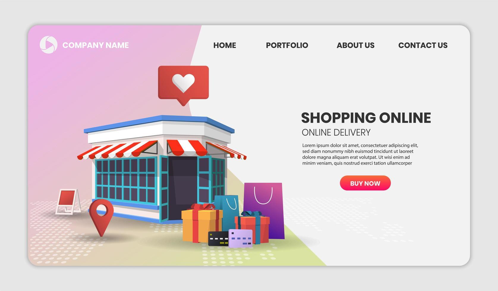 mobiele winkel website sjabloon vector