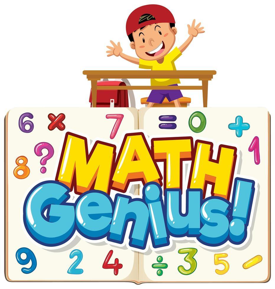woord wiskunde genie met jongen en cijfers vector