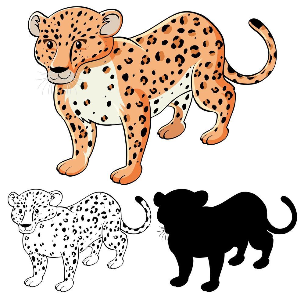 set van luipaard cartoon vector