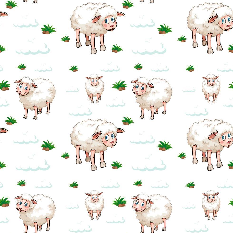 schapen en wolken naadloos patroon vector