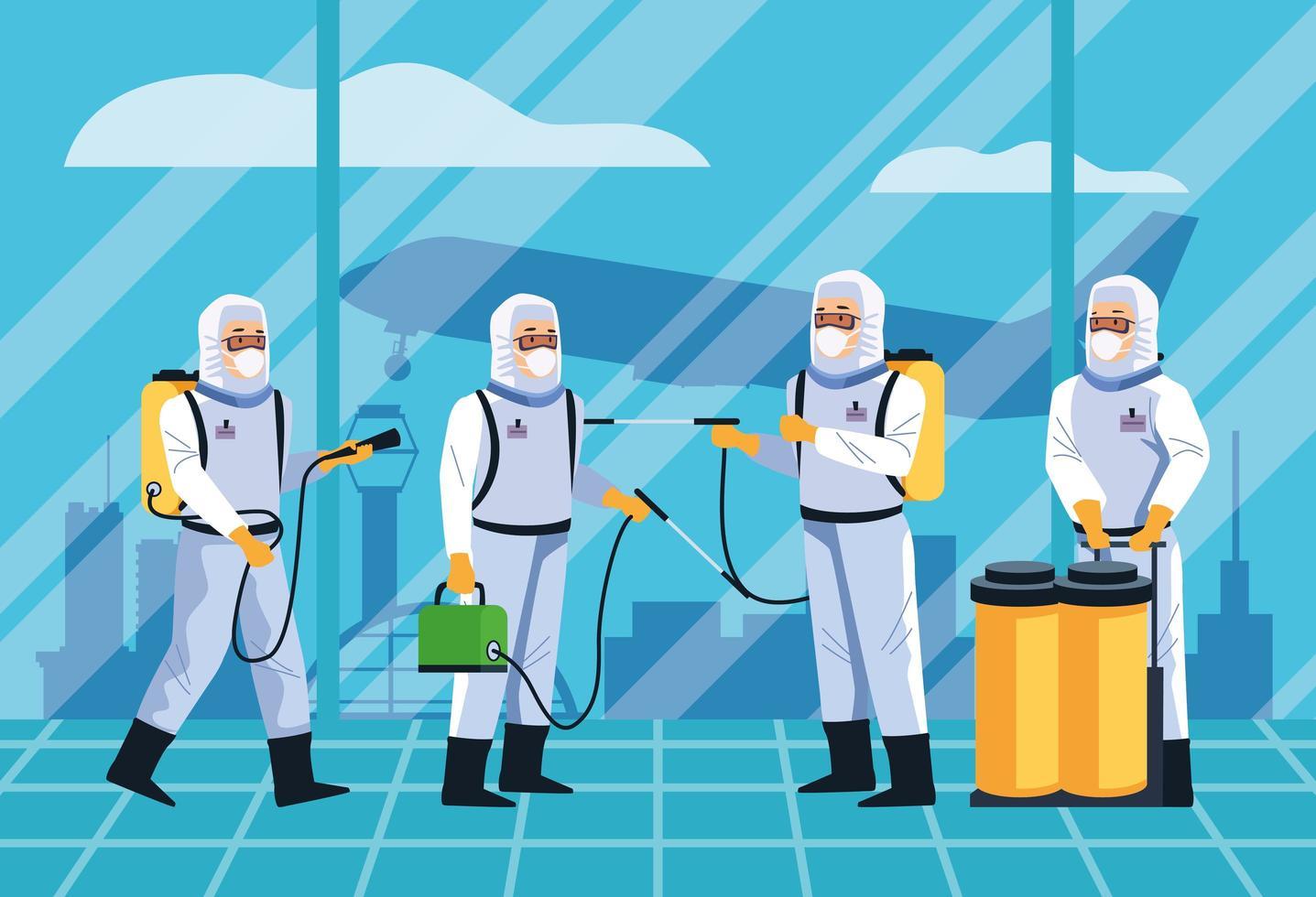 bioveiligheidsarbeiders die het ontwerp van luchthavens ontsmetten vector