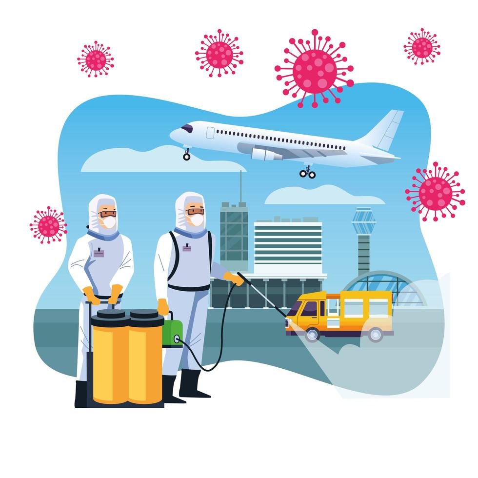 bioveiligheidsarbeiders desinfecteren luchthaven voor covid-19 vector