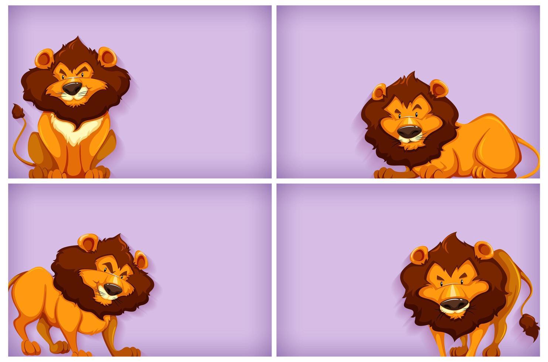 achtergrond sjabloonontwerp met effen kleur en leeuwen vector