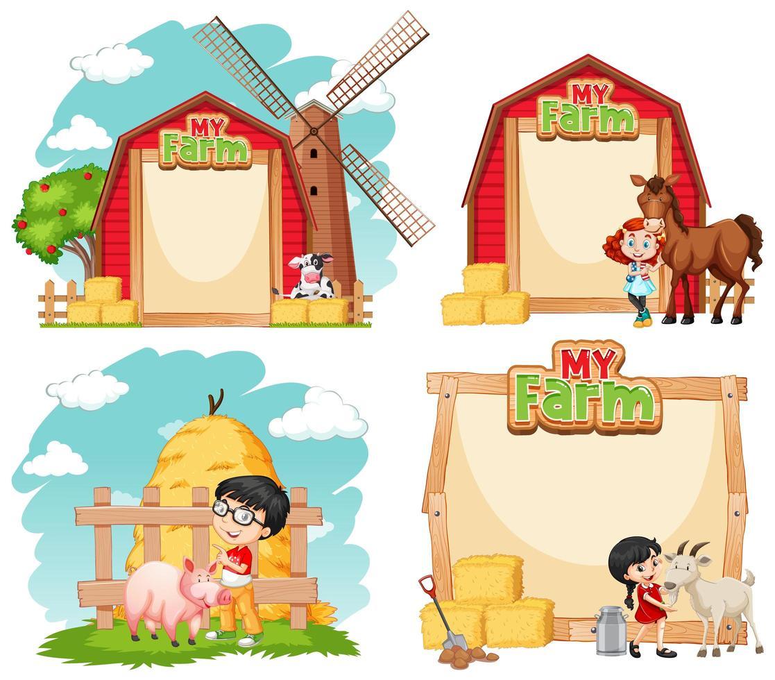 sjabloonontwerpen met kinderen en boerderijdieren vector