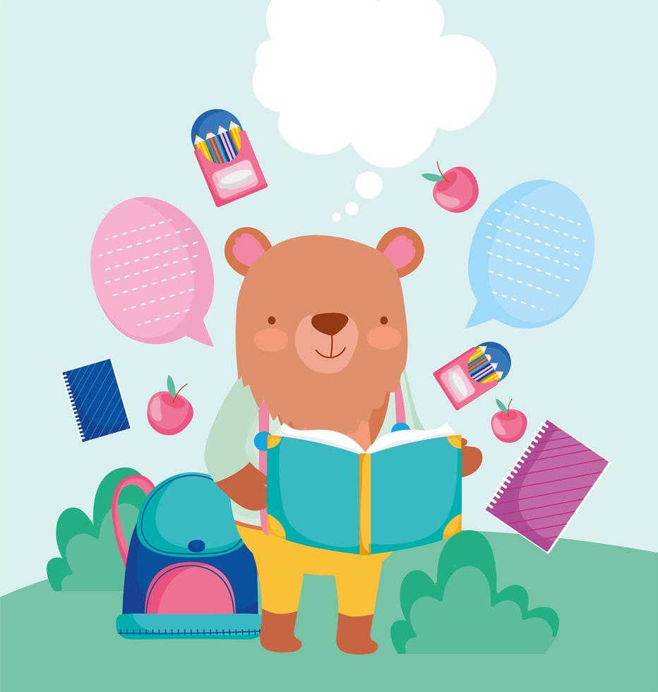 schattige beer met materialen van de kunstacademie en tekstballonnen vector
