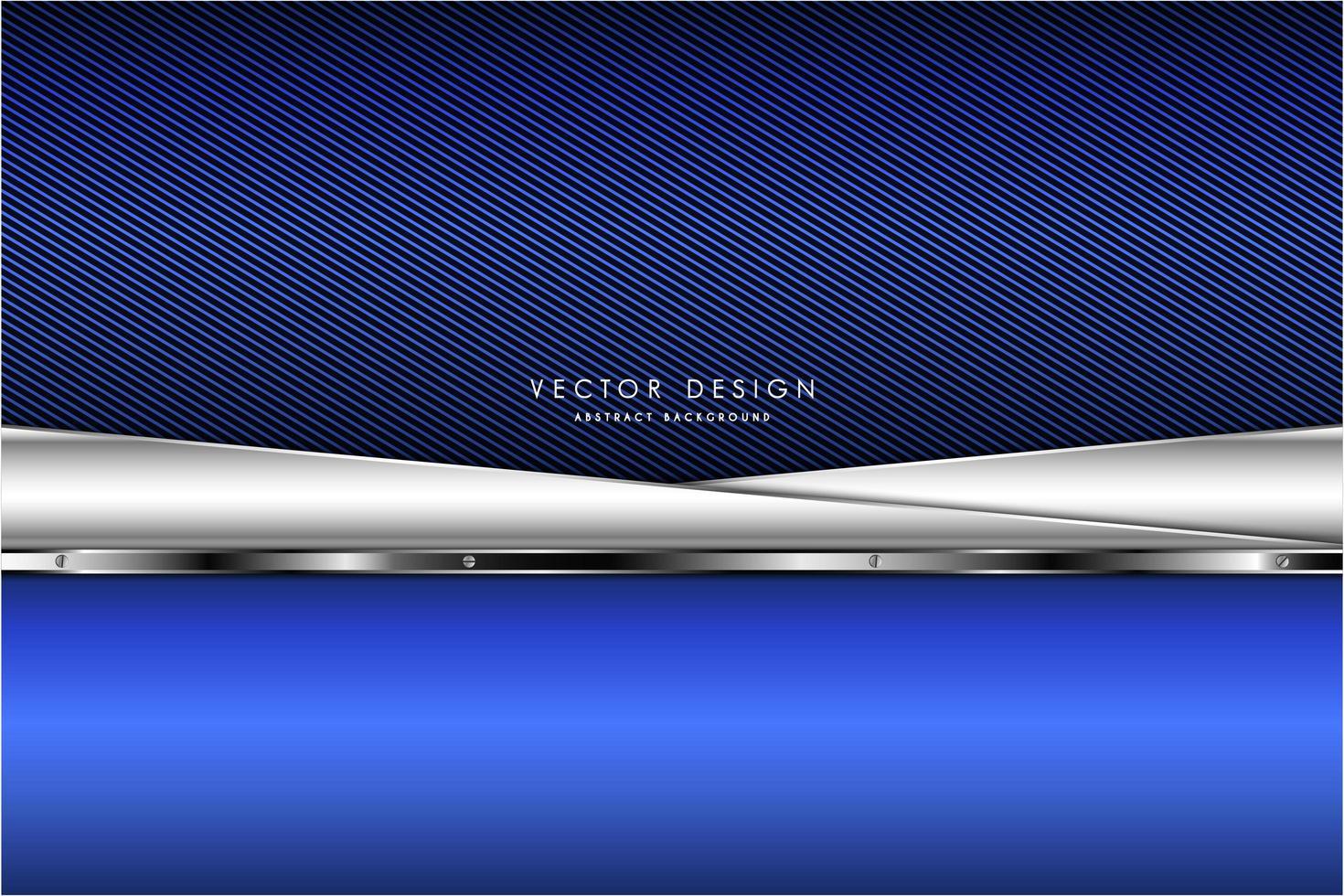 metallic blauwe en zilveren hoekige platen over marineblauw gestreept patroon vector