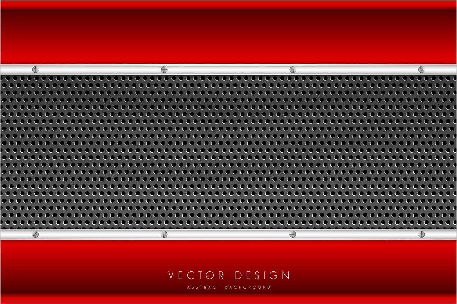 metallic rode en zilveren randen en koolstofvezeltextuur vector