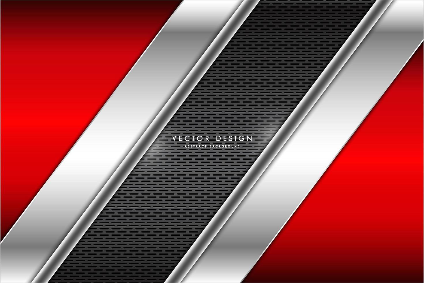 metalen hoekige rode en zilveren panelen over rooster textuur vector