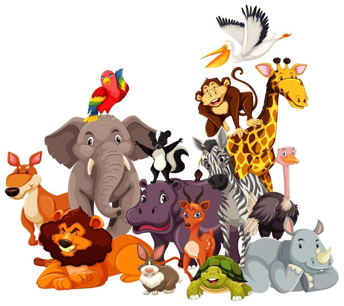 groep van wilde dieren stripfiguren vector