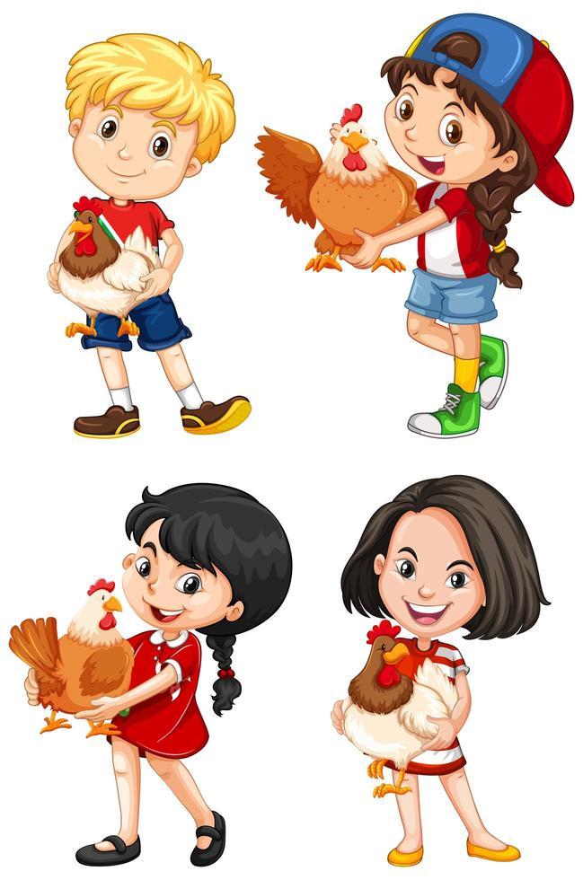 set van gelukkige kinderen en kippen vector