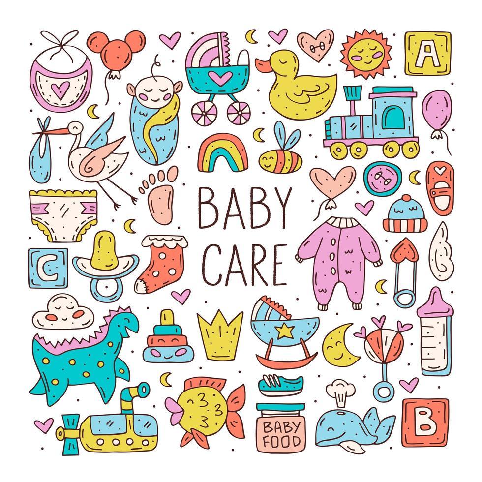 babyverzorging schattige hand getrokken doodle items set vector