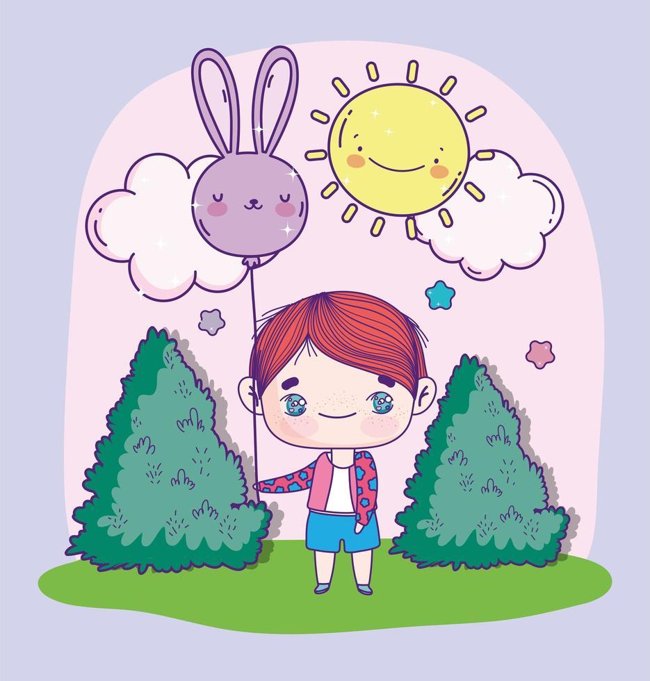 anime jongen met een ballon in een zonnige dag vector