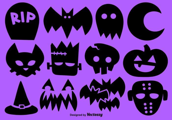 Vector Set Van 12 Halloween Pictogrammen