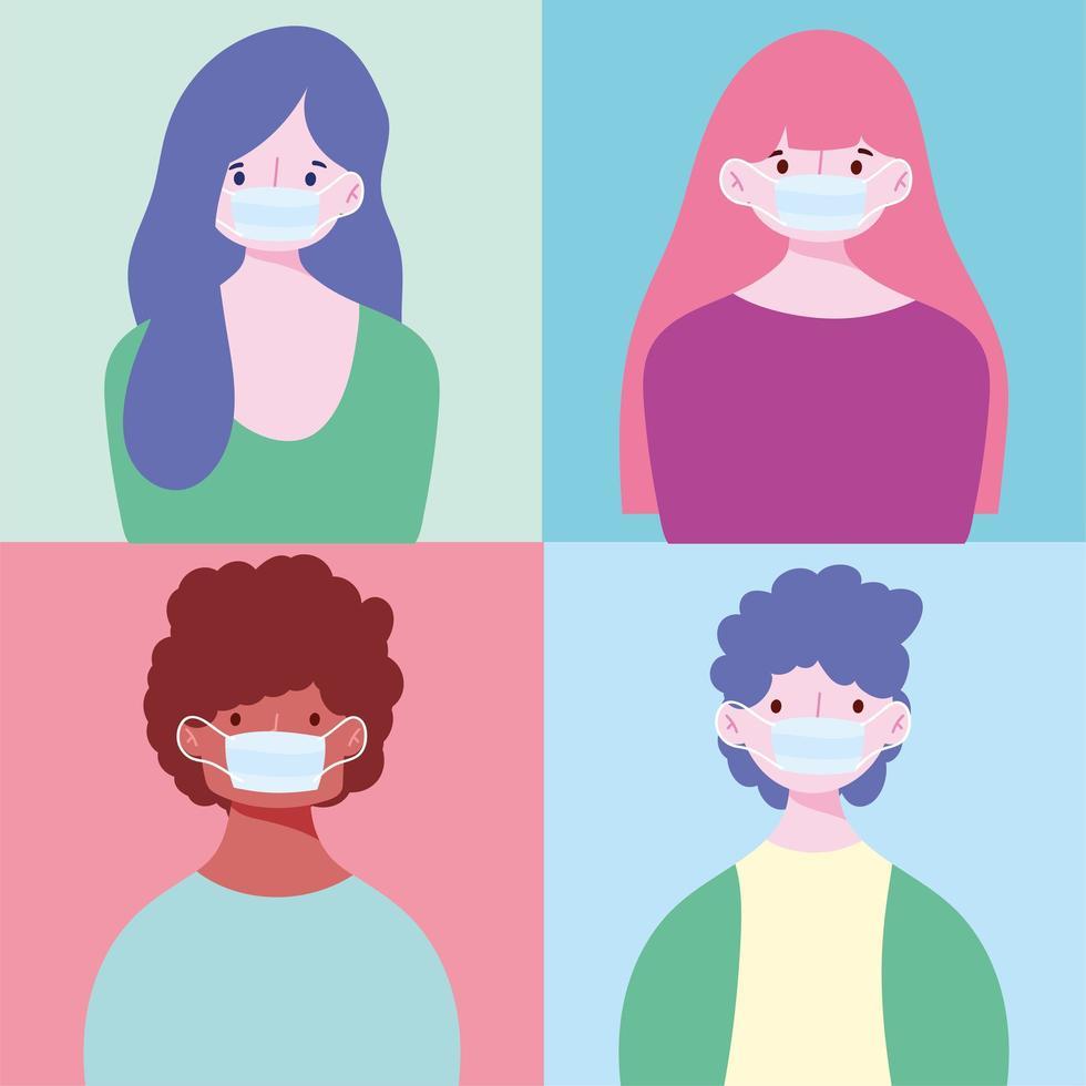 aantal jonge mensen die maskers dragen vector