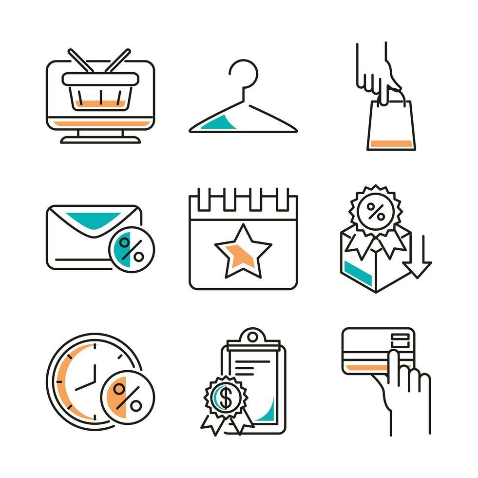 lokale business line-art icon set vector