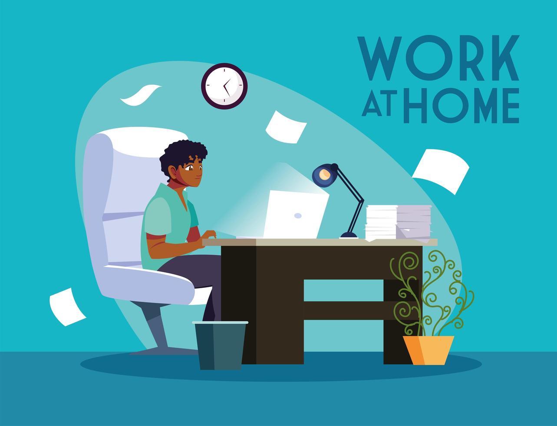 mannelijke freelancer die op afstand werkt vanuit huis vector