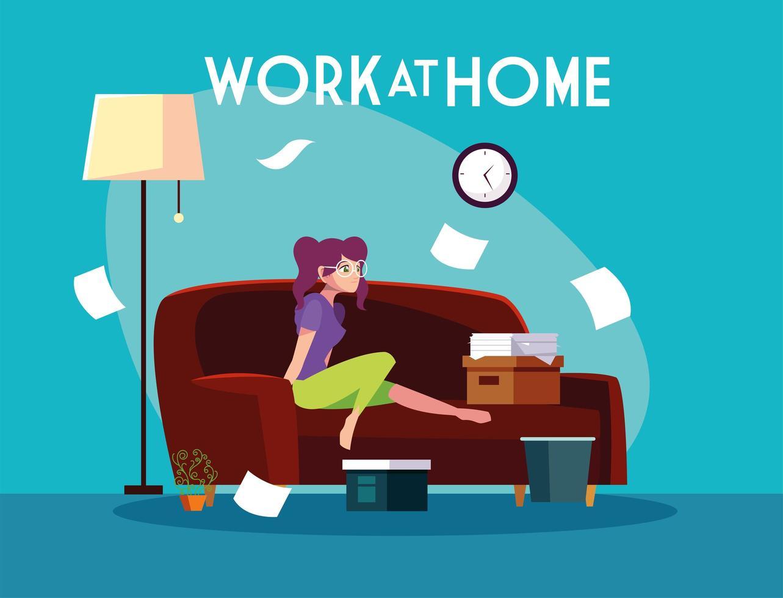 schattige vrouwelijke freelancer die op afstand werkt vanuit haar huis vector
