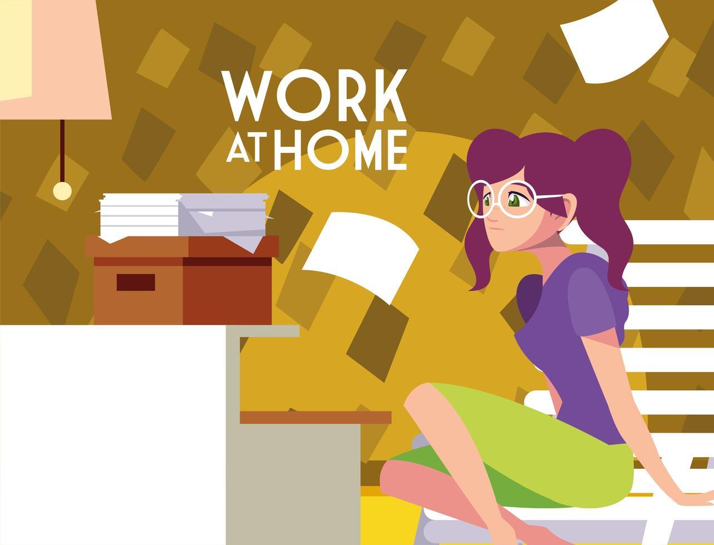 jonge vrouwelijke freelancer werkt op afstand vanuit haar huis vector
