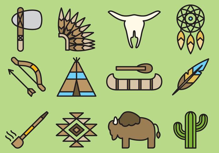 Leuke Inheemse Amerikaanse Pictogrammen vector
