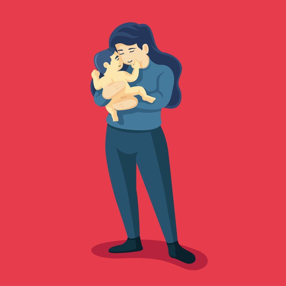 jonge moeder houdt haar zoon met zorg en liefde vast vector
