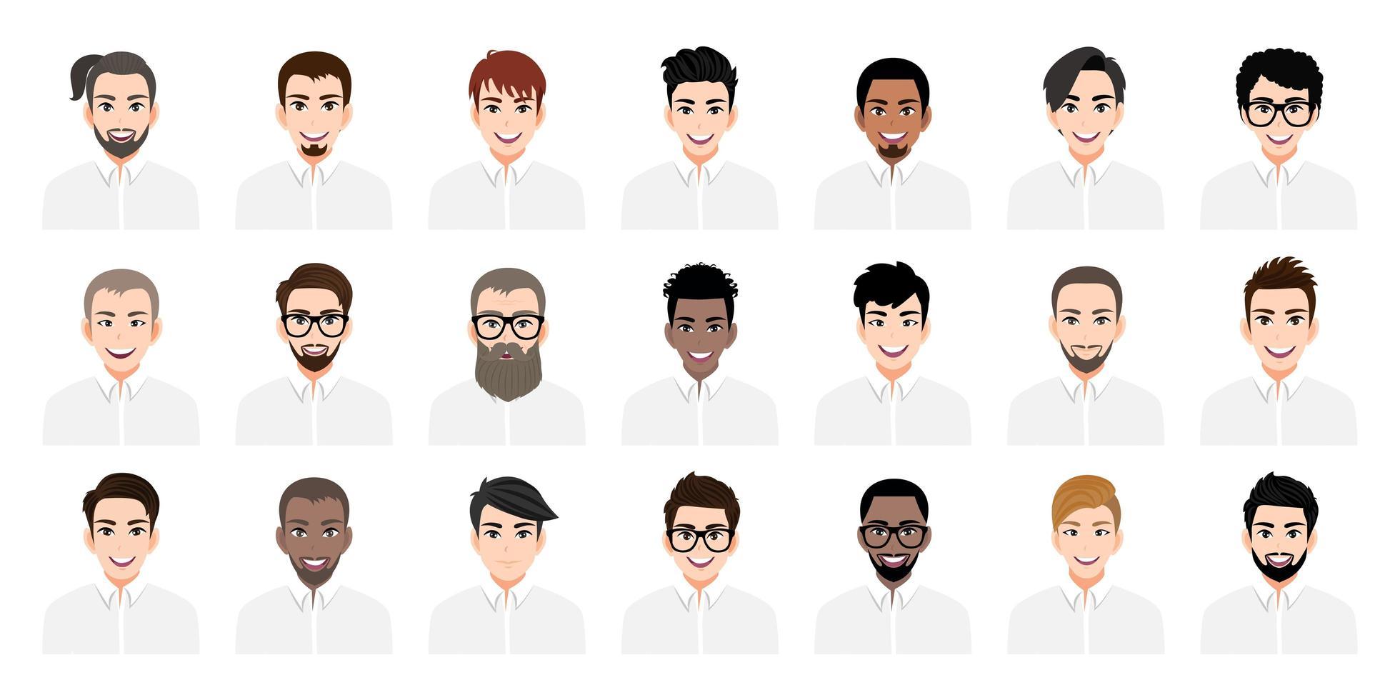 jonge mannen cartoon set met verschillende kapsels vector