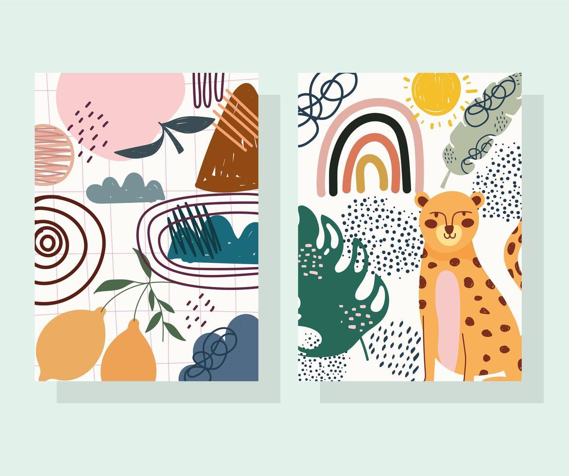luipaard en fruit met handgetekende eigentijdse vormen vector